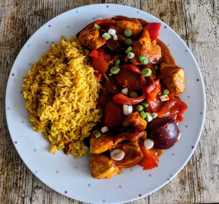 Malaysian Red Pepper and Chicken Curry with Pilau Rice (Slimming World Low Syn)